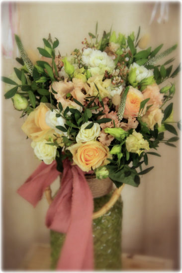 Bouquet champêtre ton pêche - La Saladelle