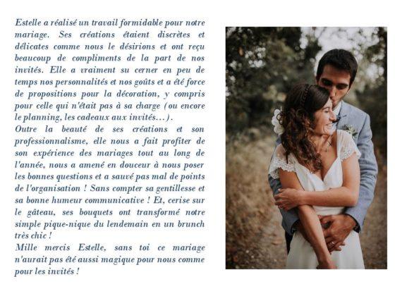 Avis mariage Julie&Stéphane - La Saladelle