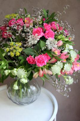 Bouquet limonium roses et astrentias - La Saladelle - Atelier création florale Perpignan et St Féliu d'Avall
